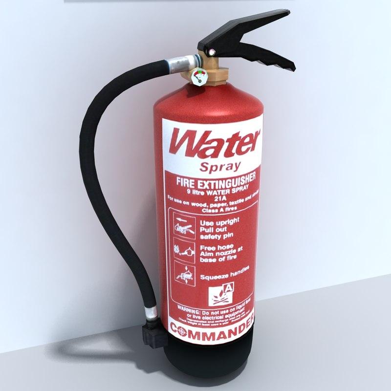 3d model of water extinguisher