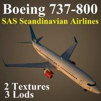 3d model boeing 737-800 sas