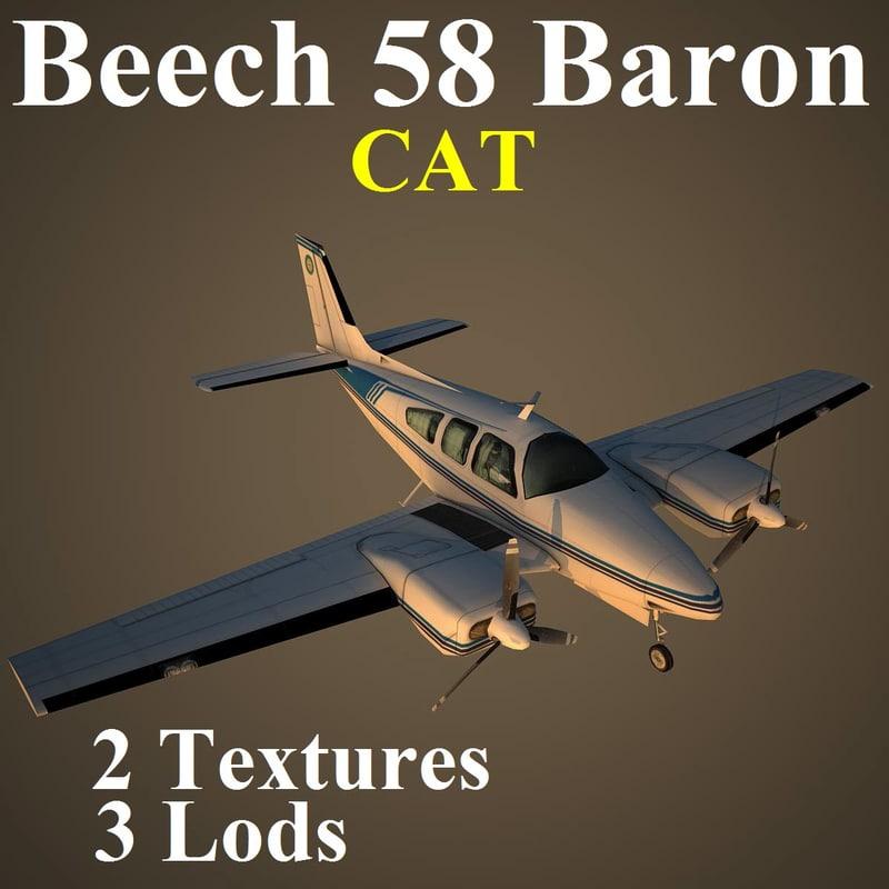 3d beech 58 cat aircraft model