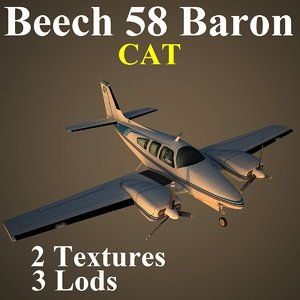 3d beech 58 cat aircraft model