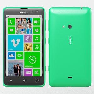 3d model of nokia lumia 625 green
