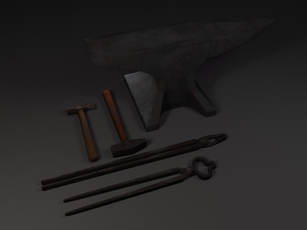 3d model of blacksmith tools anvil