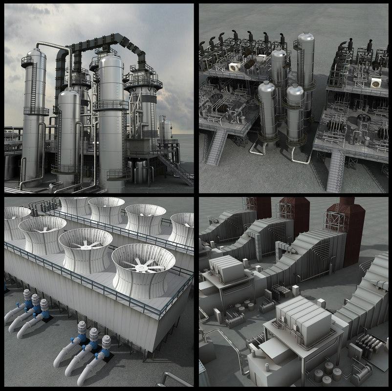 refineries unit industrial 3d max