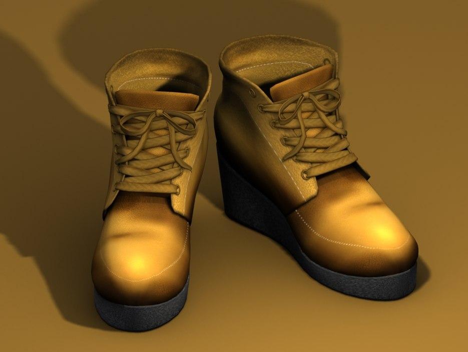 3d wedge boot model