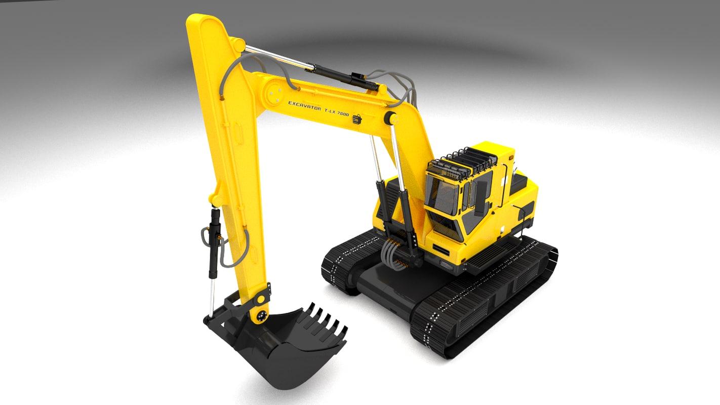 excavator construction obj