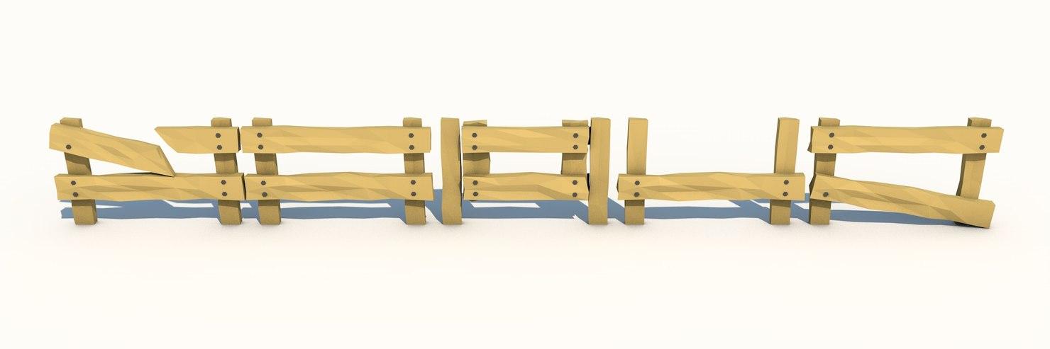 wooden fence 3d c4d