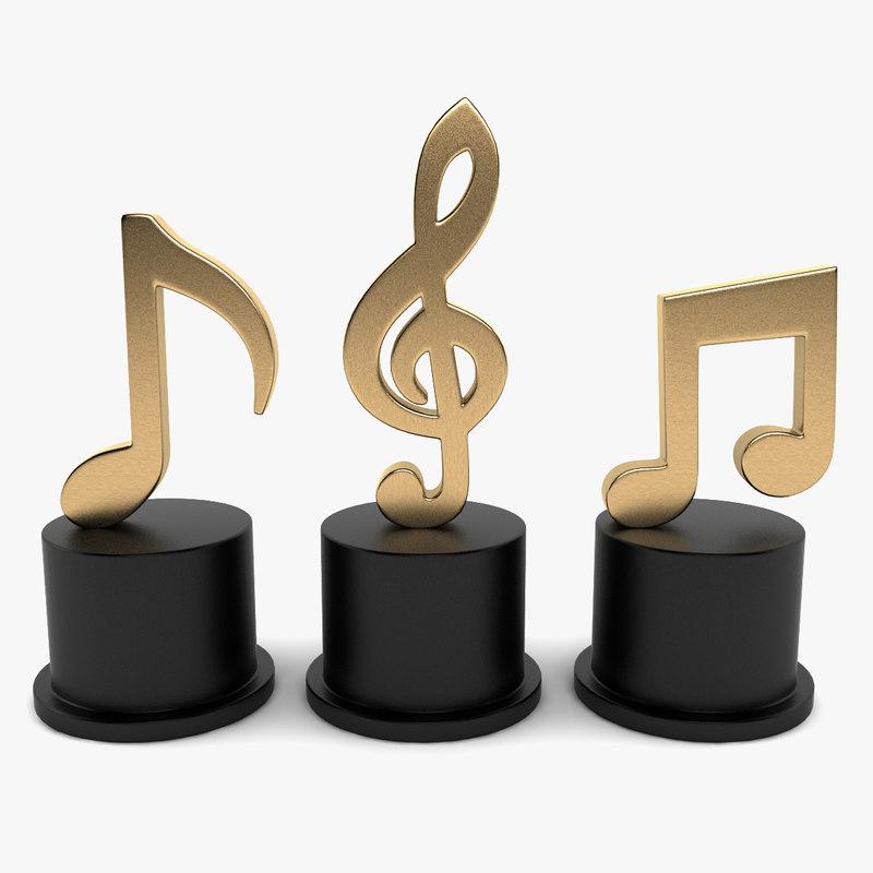 music notes decoration 3d model