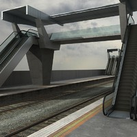 overpass railway track 3d model