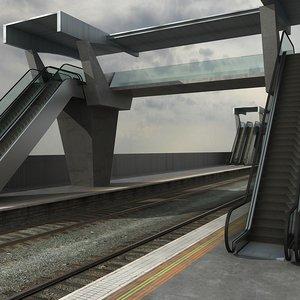overpass railway track 3d model
