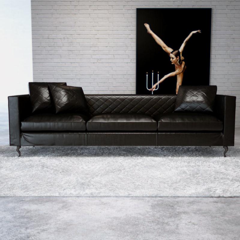 3d model moooi boutique leather sofa