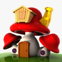 3d mushroom house shroom model
