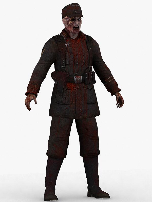 3d german zombie man
