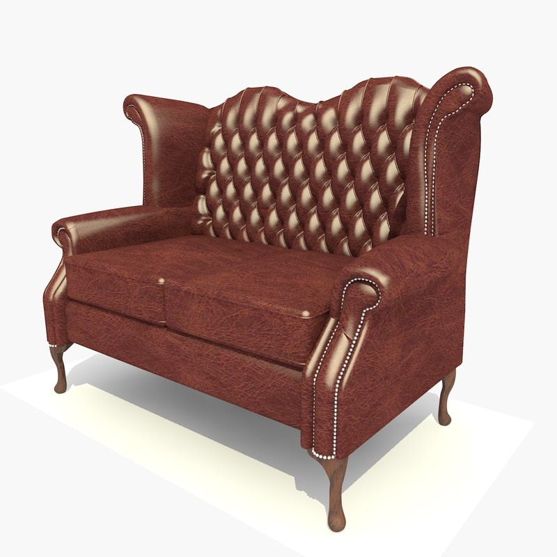 seater dark leather scroll 3d c4d