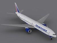 boeing 777-300 transaero jet 3d model