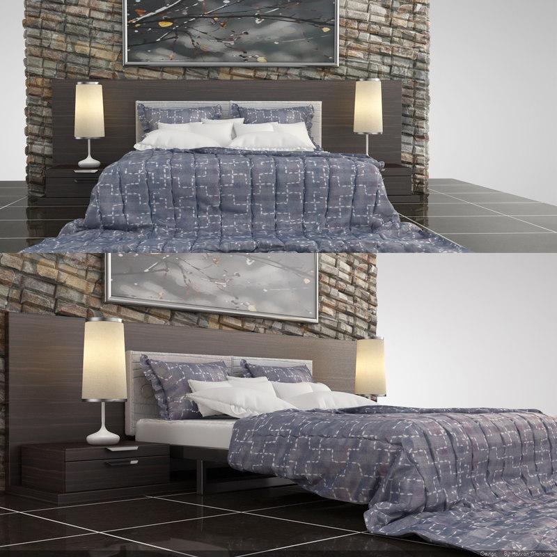 bed modern set 3d