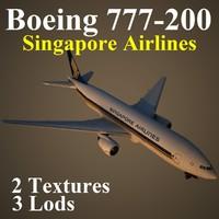 3d boeing 777-200 sia