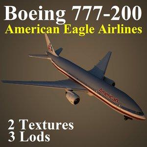 boeing 777-200 aal 3d model