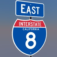 3D California Interstate 8 Signs