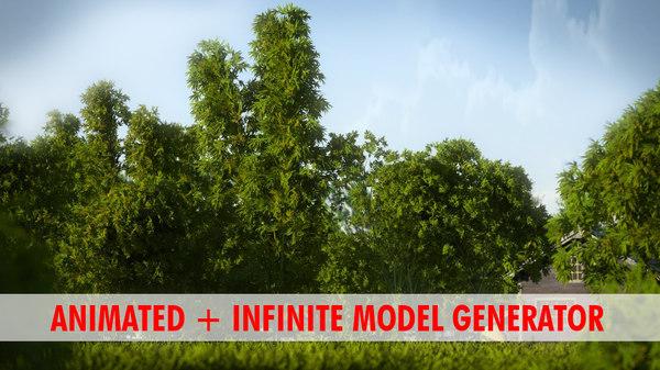 bamboo tree animation 3d model