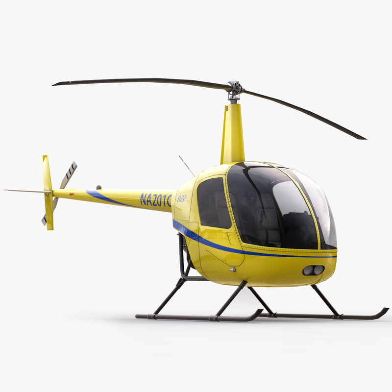 3d robinson r22 helicopter interior