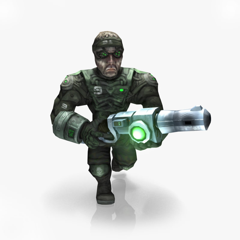 3d model space soldier rigged animate