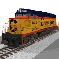 Train Engine: Chessie System GP38: C4D Model
