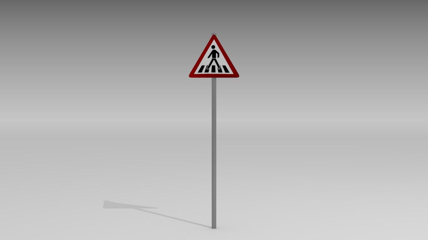 pedestrian crossing sign obj