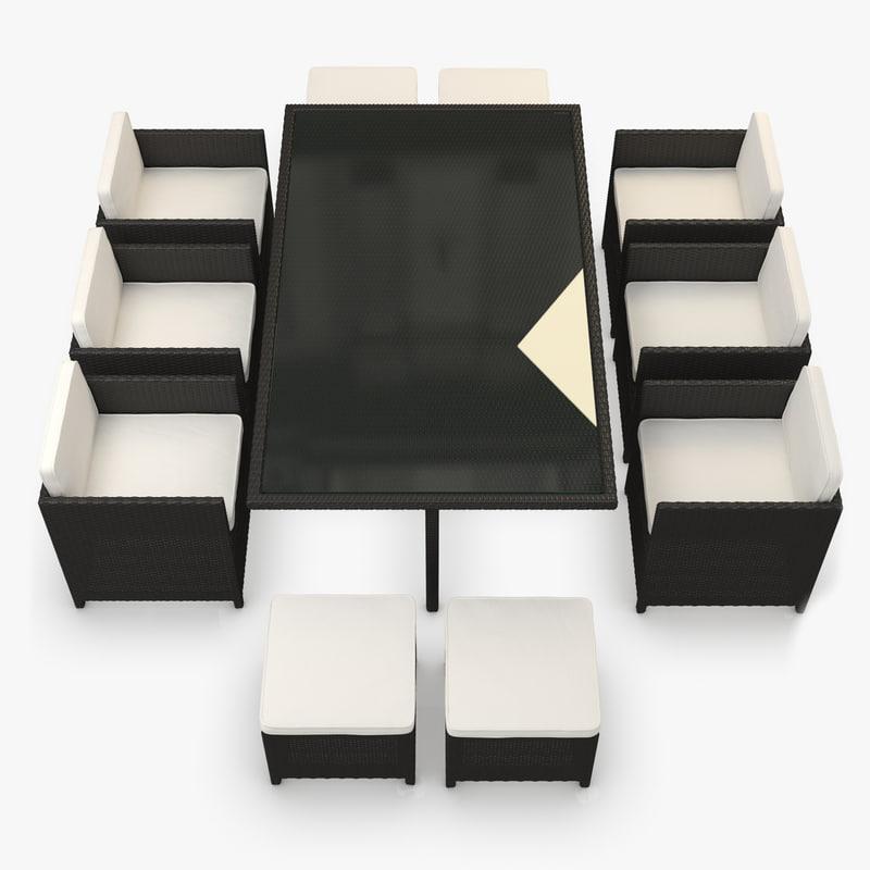 3d furniture set rattan