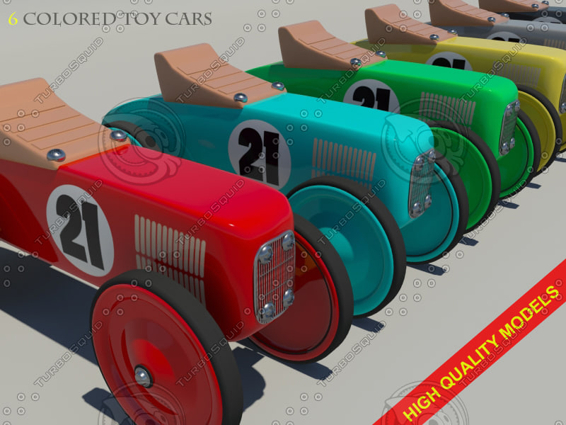 3d model toy car colored