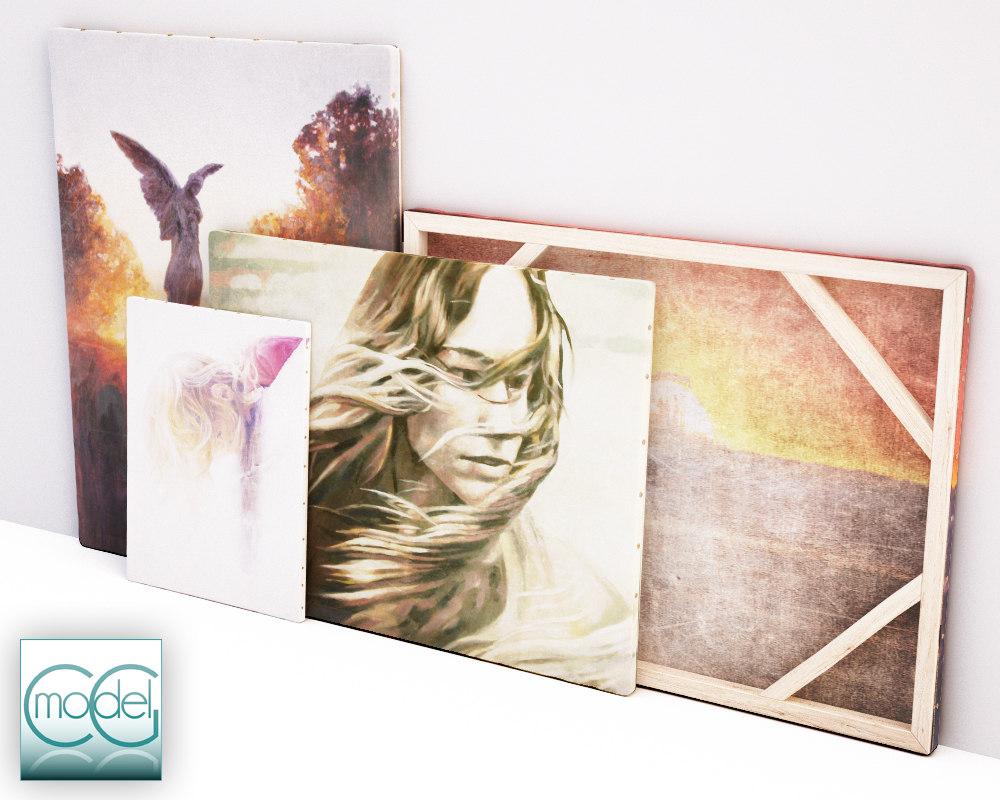3d painting canvas model