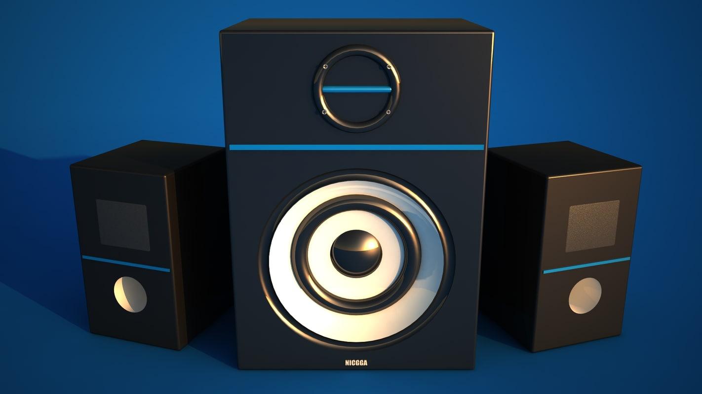 3d model of speakers neon