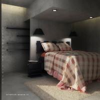 3ds max bed bedroom interior