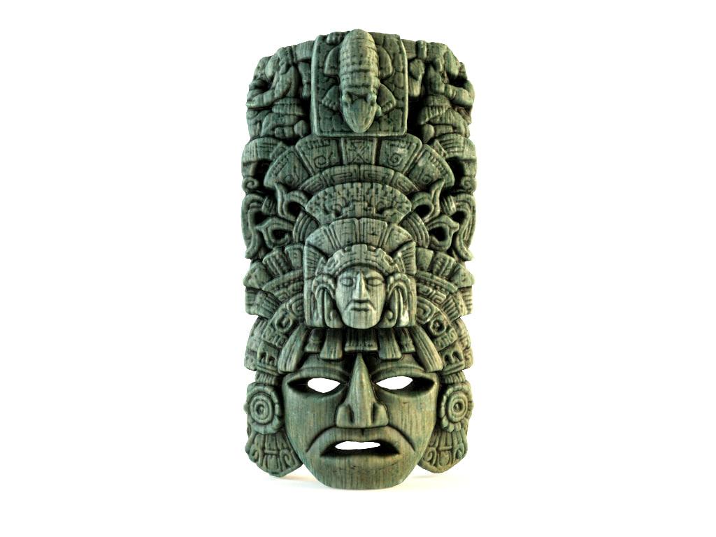 3d decorative mayan native mask model