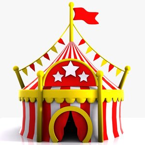cartoon circus tent 3d model