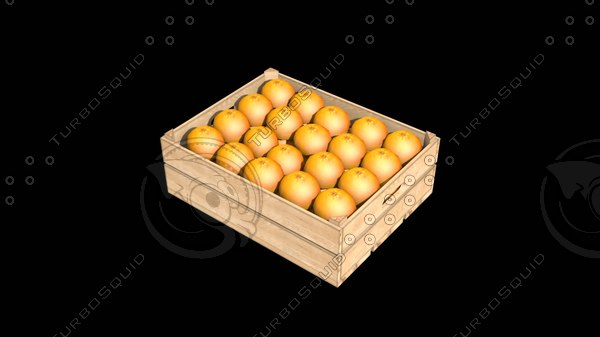 3d model crate oranges