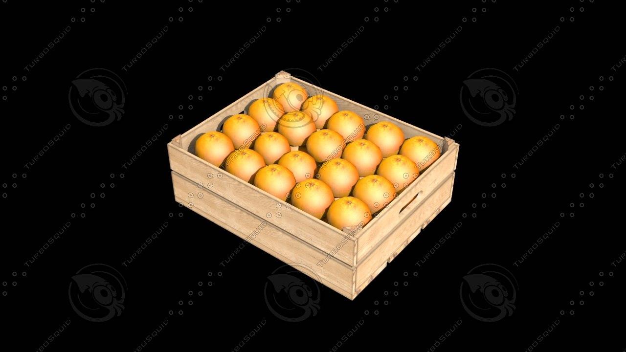 3d model crate oranges