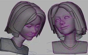 3d model cartoon girl morphs