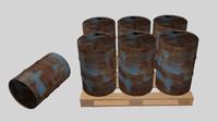free barrels pallet 3d model