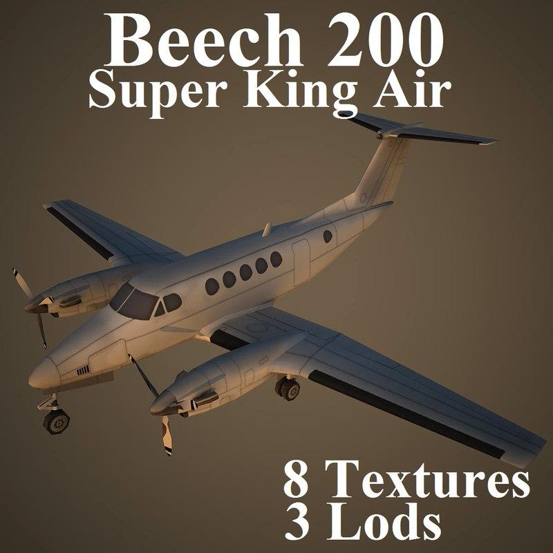 beech 200 super 3d model