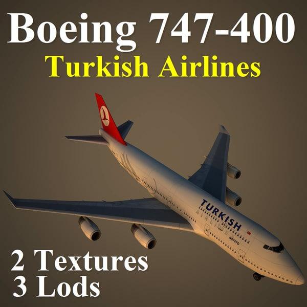 3d model of boeing 747-400 thy