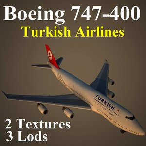 3d model of boeing 747-400 thy