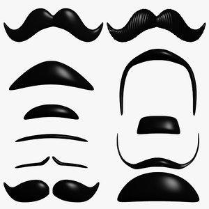 3d model mustache hipster