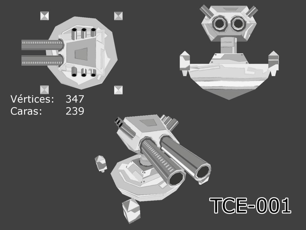 3d machine gun turret model