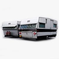 Photorealistic Loliner Travel Trailer Gameready Lowpoly