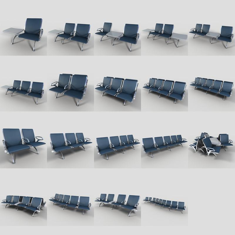 set airport seating 3d obj