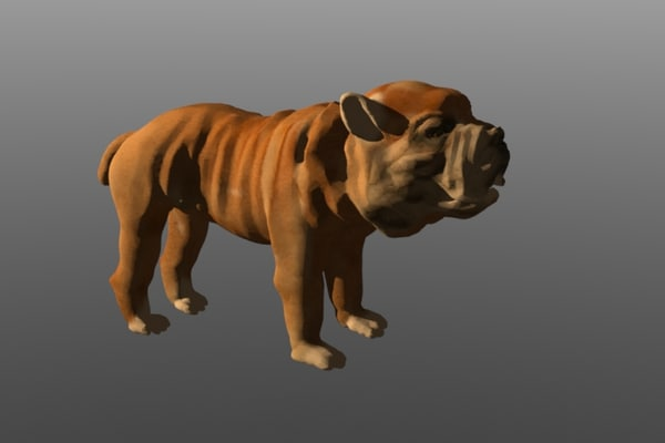 bulldog dog 3d lwo