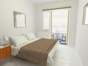 3d scandinavian bedroom interior