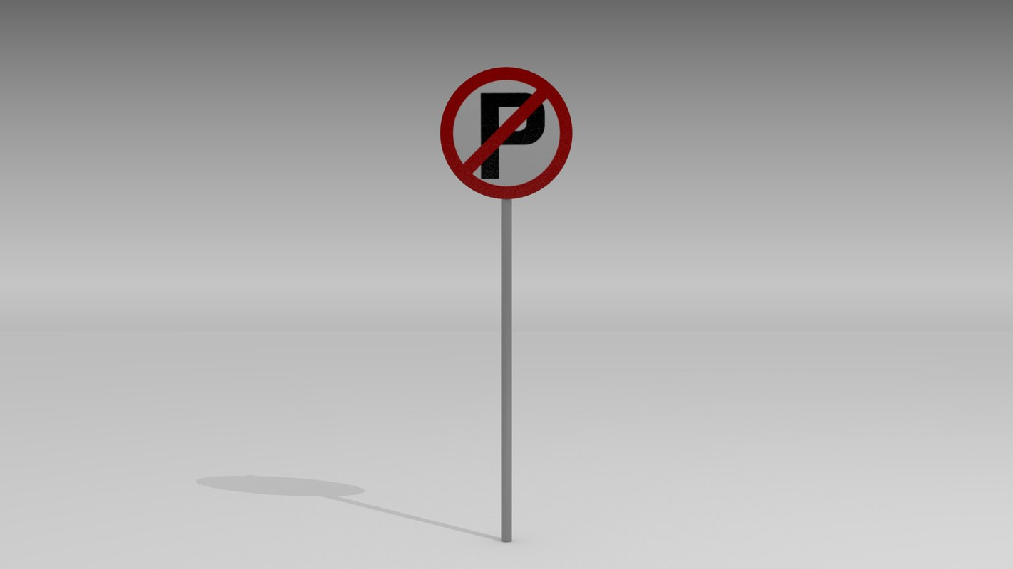 3d model parking sign