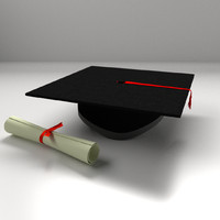 3d model mortarboard scrolls