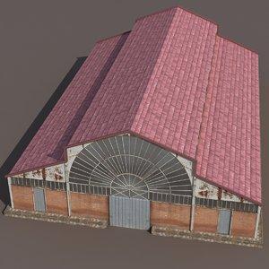 3d factory building modeled model
